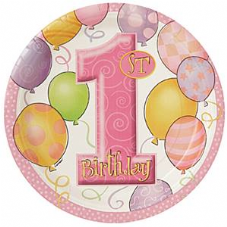 8 1St Birthday Pink Balloons Theme Paper Party Plates